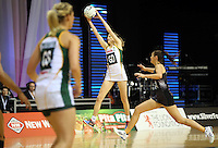 31.08.2016 South Africa's Karla Mostert in action during the Netball Quad Series match between the Silver Ferns and South Africa played at Claudelands Arena in Hamilton. Mandatory Photo Credit ©Michael Bradley.