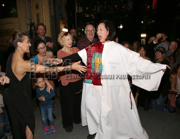 MaryAnn Hu with Jeanine Tesori, Ruthie Ann Miles and Penny Fuller during the Actors' Equity opening night Gypsy Robe Ceremony honoring  MaryAnn Hu for ''Sunday in the Park with George' at the Hudson Theatre on February 23, 2017 in New York City.
