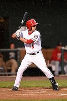 Harrisburg Senators third baseman Sean Nicol (6) at bat during a game against the New Britain Rock Cats on April 28, 2014 at Metro Bank Park in Harrisburg, Pennsylvania.  Harrisburg defeated New Britain 9-0.  (Mike Janes/Four Seam Images)