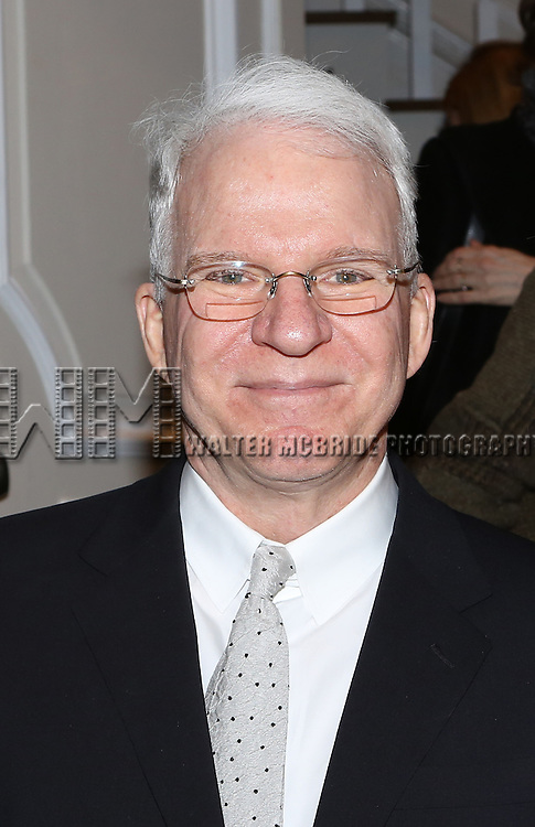 Steve Martin attends the re-opening night performance backstage reception for 'It's Only A Play' at the Bernard B. Jacobs Theatre on January 23, 2014 in New York City.