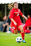 14 October 2010: University of Hartford Hawks forward Arielle Aikens, a Freshman from Wantage, NJ, in action against the University of Vermont Catamounts at Centennial Field in Burlington, Vermont. The Hawks defeated the Lady Cats 6-2 in America East play. Mandatory Credit: Ed Wolfstein Photo