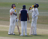 Jordan Cox (L) and Daniel Bell-Drummond of Kent take on board liquid during Kent CCC vs Sussex CCC, Bob Willis Trophy Cricket at The Spitfire Ground on 9th August 2020