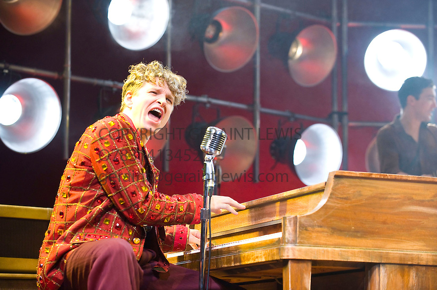 Million Dollar Quartet. Book by Colin Escott and Floyd Mutrux directed by Eric Schaeffer. With Ben Goddard as Jerry Lee Lewis. Opens at The Noel Coward  Theatre on 28/2/11  CREDIT Geraint Lewis
