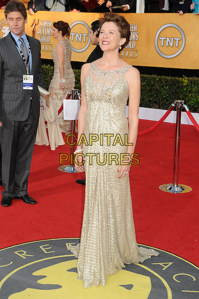 ANNETTE BENING .17th Annual Screen Actors Guild Awards held at The Shrine Auditorium, Los Angeles, California, USA..January 30th, 2011.full length dress beige sleeveless beads beaded gold SAG.CAP/ADM/BP.©Byron Purvis/AdMedia/Capital Pictures.