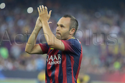 02.08.2013 Barcelona, Spain. Joan Gamper Trophee. Picture shows Andres INiesta in action during game between FC Barcelona against Santos at Camp Nou