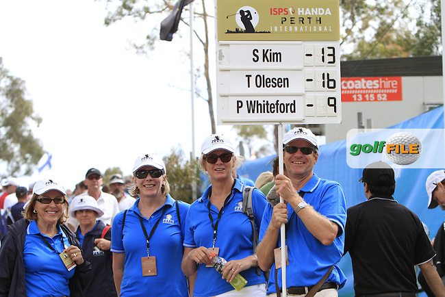 The score keepers during Round 3 of the ISPS HANDA Perth International at the Lake Karrinyup Country Club on Saturday 25rd October 2014.<br /> Picture:  Thos Caffrey / www.golffile.ie