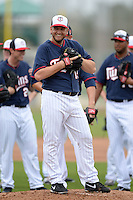 Minnesota Twins pitcher Glenn Perkins (15) during practice on February 25, 2014 at Hammond Stadium in Fort Myers, Florida.  (Mike Janes Photography)