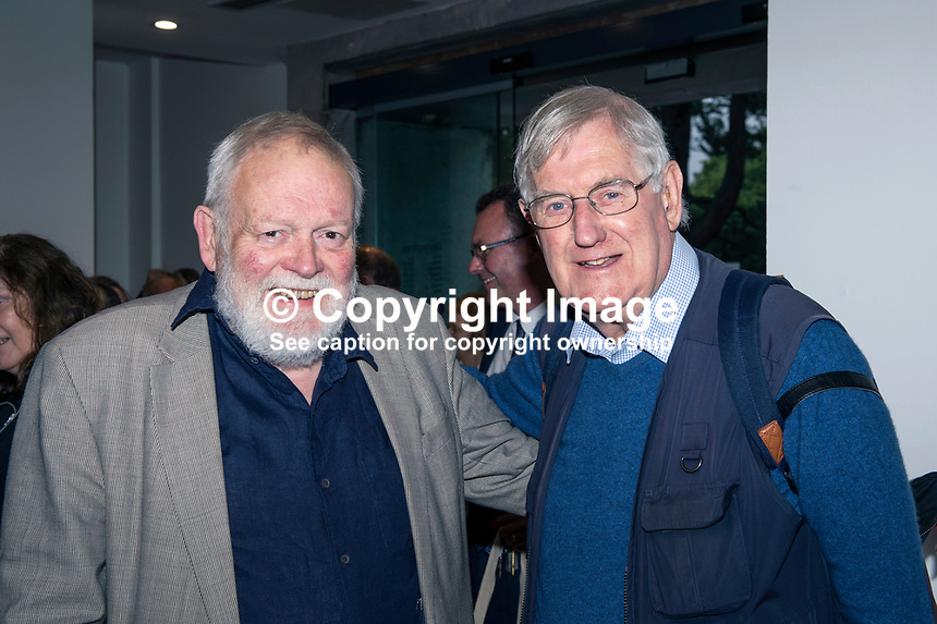 Michael Longley, poet, left, and Victor Patterson, media photographer, September, 2017, 201709078152<br /><br />Attendees at launch of a biography of Gerry Adams An Unauthorised Life by Belfast Journalist Malachi O&rsquo;Doherty in the Ulster Museum, Belfast, N Ireland, UK, on 7th September 2017. 20170907<br /><br />Copyright Image from Victor Patterson, 54 Dorchester Park, <br />Belfast, UK, BT9 6RJ<br /><br />t1: +44 28 9066 1296 (from Rep of Ireland 048 9066 1296)<br />t2: +44 28 9002 2446 (from Rep of Ireland 048 9002 2446)<br />m: +44 7802 353836<br /><br />victorpatterson@me.com<br />www.victorpatterson.com<br /><br />Please see my Terms and Conditions of Use at VICTORPATTERSON.COM. It is IMPORTANT that you familiarise yourself with them.<br /><br />Images used on the Internet must be visibly watermarked i.e. &copy;VICTORPATTERSON.COM within the body of the image and copyright metadata must not be deleted. Images used on the Internet have a size restriction of 4kbs and are chargeable at the then current NUJ rates.<br /><br />This image is only available for the use of the download recipient i.e. television station, newspaper, magazine, book publisher, etc, and must not be passed on to any third party. It is also downloaded on condition that each and every usage is notified within 7 days to victorpatterson@me.com<br /><br />The right of Victor Patterson to be identified as the author is asserted in accordance with The Copyright Designs And Patents Act (1988).