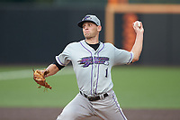 Winston-Salem Dash starting pitcher Kyle Kubat (1) in action against the Buies Creek Astros at Jim Perry Stadium on August 15, 2018 in Buies Creek, North Carolina.  The Astros defeated the Dash 5-0.  (Brian Westerholt/Four Seam Images)