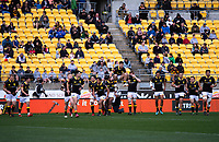 Lions players walk out for the kickoff during the Mitre 10 Cup rugby match between Wellington Lions and Otago at Westpac Stadium in Wellington, New Zealand on Sunday, 19 August 2018. Photo: Dave Lintott / lintottphoto.co.nz