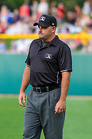First base umpire Jeremy Riggs during an International League game between the Buffalo Bisons and the Indianapolis Indians on July 28, 2018 at Victory Field in Indianapolis, Indiana. Indianapolis defeated Buffalo 6-4. (Brad Krause/Four Seam Images)