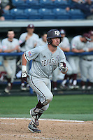 Michael Barash (5) of the Texas A&M Aggies runs to first base during a game against the Pepperdine Waves at Eddy D. Field Stadium on February 26, 2016 in Malibu, California. Pepperdine defeated Texas A&M, 7-5. (Larry Goren/Four Seam Images)