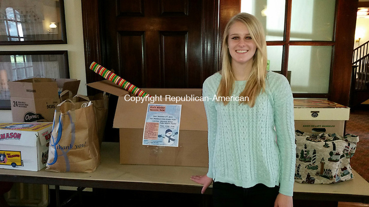 "MIDDLEBURY, CT: 24 Nov. 2015:112415BB01: MIDDLEBURY ---- Sarah Cavallaro, 16, of Middlebury, a Westover School junior, is organizing ""The Community Corner Kid's Winter Season Sale"" as a community service project at her school. The proceeds will benefit Safe Haven of Greater Waterbury, which supports victims of domestic violence and sexual assault. Bill Bittar Republican-American"