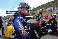 Jul, 22, 2012; Morrison, CO, USA: NHRA top fuel dragster driver Antron Brown during the Mile High Nationals at Bandimere Speedway. Mandatory Credit: Mark J. Rebilas-US PRESSWIRE