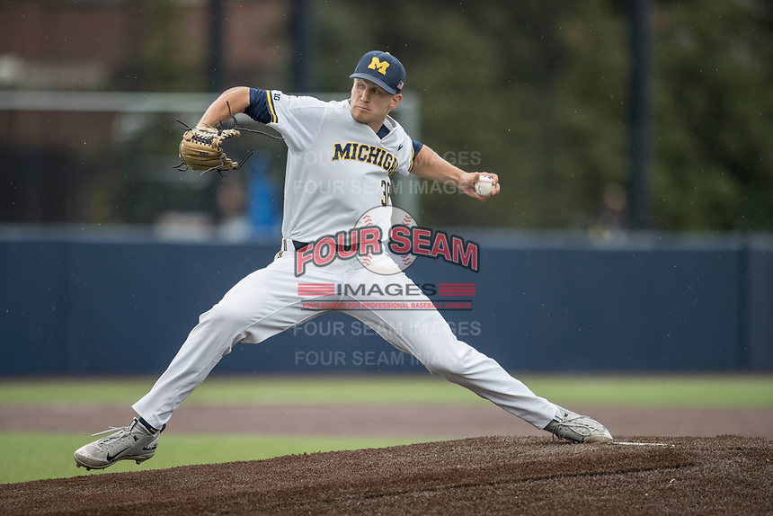 Michigan Wolverines pitcher Oliver Jaske (36) delivers a pitch to the plate against the Michigan State Spartans on May 19, 2017 at Ray Fisher Stadium in Ann Arbor, Michigan. Michigan defeated Michigan State 11-6. (Andrew Woolley/Four Seam Images)