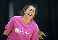 NWA Democrat-Gazette/BEN GOFF @NWABENGOFF<br /> Okiana Valle, Arkansas senior libero, laughs Wednesday, Nov. 7, 2018, during practice in Barnhill Arena.