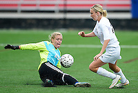 Oregon's Jen Brien gets by Green Bay Southwest goalkeeper, Toni Champion to score the game winning goal, as Oregon tops Green Bay Southwest 3-0 to win the WIAA Division 2 girls soccer state championship, on Saturday, June 20, 2015 at Uihlein Soccer Park in Milwaukee, Wisconsin