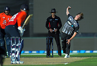 New Zealand's Blair Tickner bowls during the 4th Twenty20 International cricket match between NZ Black Caps and England at McLean Park in Napier, New Zealand on Friday, 8 November 2019. Photo: Dave Lintott / lintottphoto.co.nz