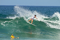 Haleiwa Hawaii, (Wednesday November 16, 2010) .In 26 years of Vans Triple Crown competition at Haleiwa, no-one can recall ever running three consecutive days, but that was the scenario today as a  rising swell poured in for the Women's Cholo's Hawaiian Pro  final. A crisp offshore breeze, clear skies and  smooth waves was the stage for the Cholo's Women's final won by defending Triple Crown Champion Stephanie Gilmore (AUS) with Tyler Wright (AUS) in 2nd, Alana Blanchard (HAW) in 3rd and Jacqueline Silva (BRA) in 4th place. All three place getters qualified for next years WCT Women's Tour..Photo: joliphotos.com
