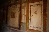 POMPEI CADONO ALCUNI FRAMMENTI DAGLI AFFRESCHI DELLA CASA DI VENERE IN CONCHIGLIA.NELLA FOTO .FOTO CIRO DE LUCA