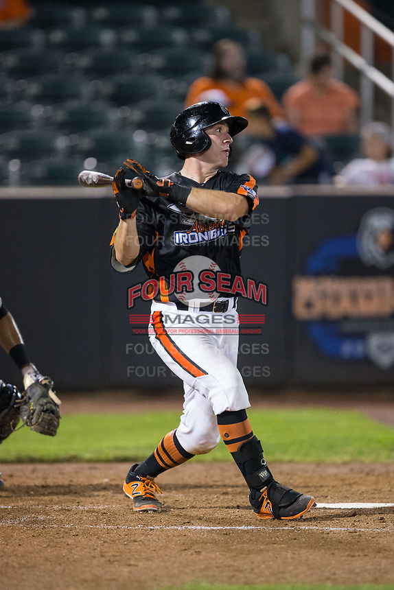 Ben Breazeale (39) of the Aberdeen IronBirds follows through on his swing against the Hudson Valley Renegades at Leidos Field at Ripken Stadium on July 27, 2017 in Aberdeen, Maryland.  The IronBirds defeated the Renegades 3-0 in game two of a double-header.  (Brian Westerholt/Four Seam Images)