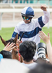Jockey Joao Moreira riding House of Fun celebrates after winning the Race 6 - Pacific Ocean Handicap on 07 May 2017, at the Sha Tin Racecourse  in Hong Kong, China. Photo by Chris Wong / Power Sport Images