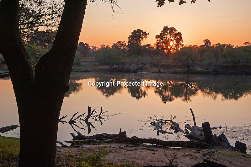 Sunset on the Kafue River in Kafue National Park in Zambia in Africa