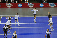 15 December 2007: Stanford Cardinal Foluke Akinradewo (16), Bryn Kehoe (4), Cassidy Lichtman (8), Alix Klineman (10), Gabi Ailes (9), and Cynthia Barboza (1) during Stanford's 25-30, 26-30, 30-23, 30-19, 8-15 loss against the Penn State Nittany Lions in the 2007 NCAA Division I Women's Volleyball Final Four championship match at ARCO Arena in Sacramento, CA.