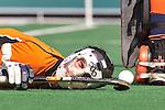 BLOEMENDAAL - EHL Hockey. Marcel Balkestein van OZ tijdens  achtste finale tussen Oranje Zwart uit Eindhoven en het Spaanse RC Polo de Barcelona. OZ wint na shoot-outs.  COPYRIGHT KOEN SUYK