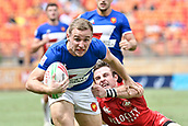 2nd February 2019, Spotless Stadium, Sydney, Australia; HSBC Sydney Rugby Sevens; Canada versus France; Thibaud Mazzoleni of France dives for the try line as Pat Kay of Canada tackles