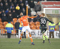 Blackpool's Kelvin Mellor in action with Bristol Rovers' Rory Gaffney<br /> <br /> Photographer Mick Walker/CameraSport<br /> <br /> The EFL Sky Bet League One - Blackpool v Bristol Rovers - Saturday 13th January 2018 - Bloomfield Road - Blackpool<br /> <br /> World Copyright &copy; 2018 CameraSport. All rights reserved. 43 Linden Ave. Countesthorpe. Leicester. England. LE8 5PG - Tel: +44 (0) 116 277 4147 - admin@camerasport.com - www.camerasport.com