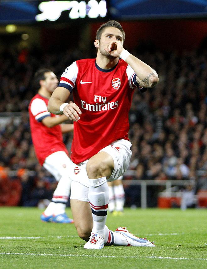 Arsenal's Olivier Giroud rues a missed chance on goal..Football - UEFA Champions League Group B - Arsenal v Olympiakos FC - Wednesday 3rd October 2012 - Emirates Stadium - London..