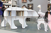 London, UK. 22 September 2016. Shelves in the shape of a polar bear and other animals by ibride from France. The UK's largest design show 100% Design takes place at London Olympia from 21 to 24 September 2016. © Bettina Strenske/Alamy Live News