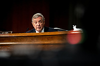 """United States Senator Dick Durbin (Democrat of Illinois) speaks at a US Senate Judiciary Committee Hearing """"to examine COVID-19 fraud, focusing on law enforcement's response to those exploiting the pandemic"""" on Capitol Hill in Washington, DC on June 9, 2020. <br /> Credit: Erin Schaff / Pool via CNP/AdMedia"""