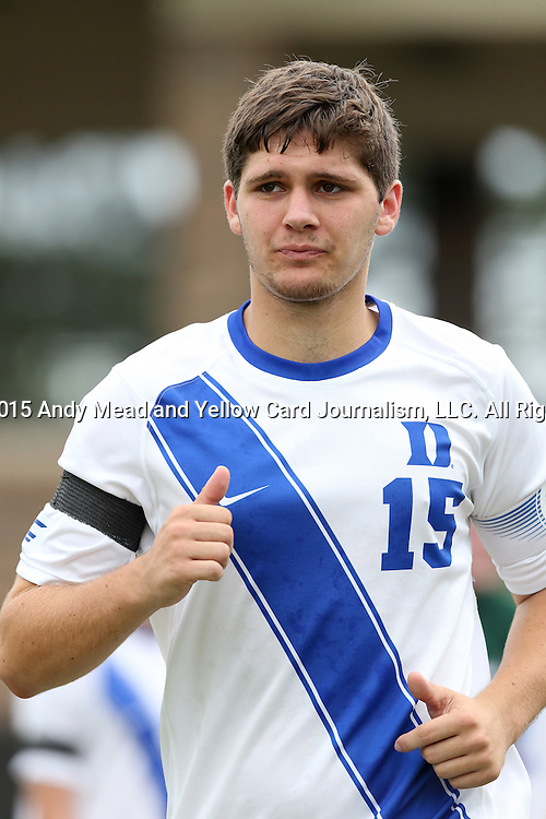 30 August 2015: Duke's Zach Mathers. The Duke University Blue Devils hosted the DePaul University Blue Demons at Koskinen Stadium in Durham, NC in a 2015 NCAA Division I Men's Soccer match.