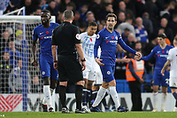 Cesc Fabregas of Chelsea has words with referee, Kevin Friend, at the final whistle during Chelsea vs Everton, Premier League Football at Stamford Bridge on 11th November 2018