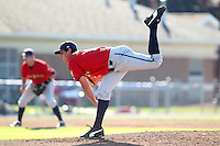 State College Spikes pitcher Zack Dodson (18) during a game vs. the Batavia Muckdogs at Dwyer Stadium in Batavia, New York August 29, 2010.   Batavia defeated State College 6-4.  Photo By Mike Janes/Four Seam Images
