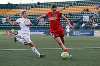 Rochester, NY - Friday June 17, 2016: Western New York Flash midfielder McCall Zerboni (7), Portland Thorns FC defender Emily Menges (4) during a regular season National Women's Soccer League (NWSL) match between the Western New York Flash and the Portland Thorns FC at Rochester Rhinos Stadium.