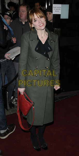 "Anne-Marie Duff.The ""Macbeth"" press night performance, Trafalgar Studios, Whitehall, London, England..February 22nd, 2013.full length green military coat jacket gold buttons black tights red bag purse .CAP/CAN.©Can Nguyen/Capital Pictures."