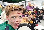 Pupil Oran Mc Mahon of  Ennis Holy family school attending a public performance in the Market before the annual  Clare Champion Halloween Party. Photograph by John Kelly.
