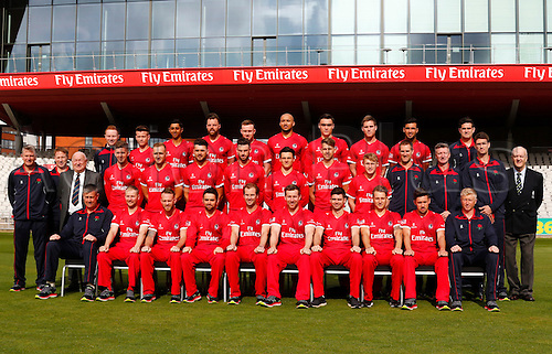 08.04.2016. Old Trafford, Manchester, England. Lancashire County Cricket Press Call. Lancashire CCC 1st XI team group in their NatWest T20 Blast strip for the 2016 season.