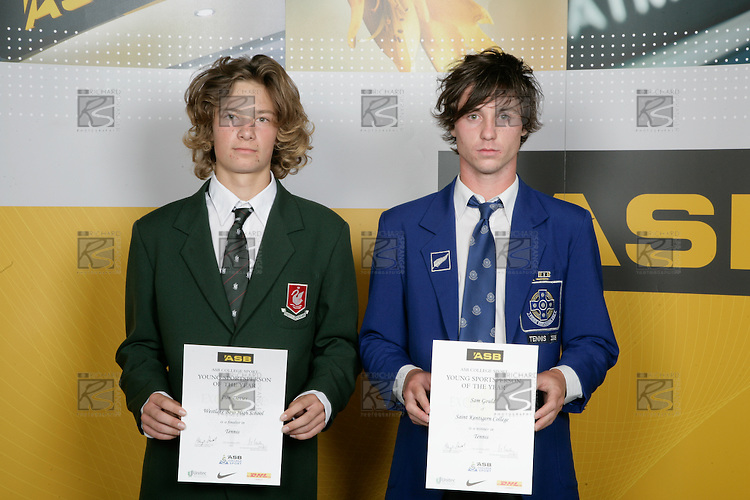 Boys Tennis finalists Dan Davis & Sam Gould. ASB College Sport Young Sportperson of the Year Awards 2007 held at Eden Park on November 15th, 2007.