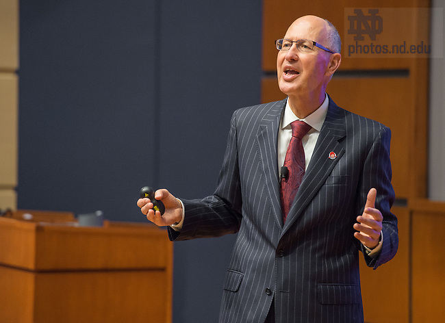 "Sep. 19, 2014; Emil Brolick, CEO of Wendy's, speaks in Jordan Auditorium as part of the Mendoza College of Business ""Boardroom Insights"" lecture series. (Photo by Matt Cashore/University of Notre Dame)"