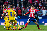Lucas Hernandez (R) of Atletico de Madrid competes for the ball with players of UD Las Palmas during the La Liga 2017-18 match between Atletico de Madrid and UD Las Palmas at Wanda Metropolitano on January 28 2018 in Madrid, Spain. Photo by Diego Souto / Power Sport Images