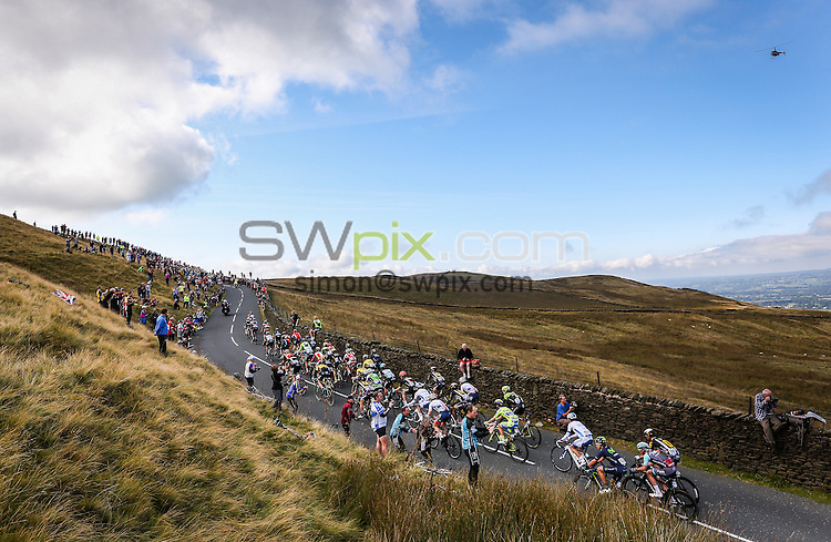 Picture by Alex Whitehead/SWpix.com - 07/09/2015 - Cycling - 2015 Aviva Tour of Britain, Stage 2 - Clitheroe to Colne - The peloton climb Nick O' Pendle during Stage 2 near Clitheroe.