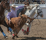 Steer Wrestler Charles Harris from Salinas, California at the 68th annual Oakdale Saddle Club Rodeo on Sunday, April 14, 2019.  (Al Golub/Record Photo)