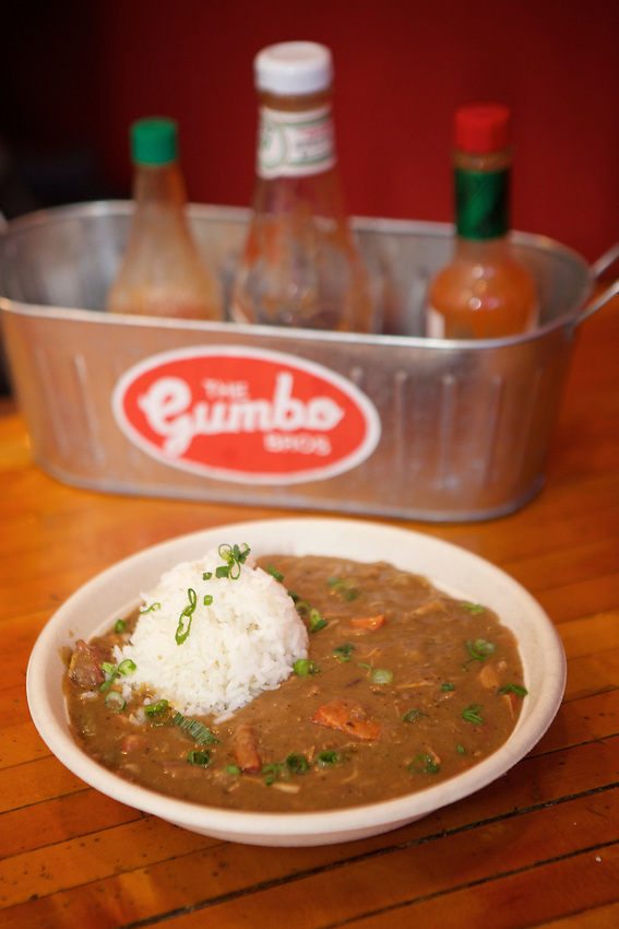 BROOKLYN, NY - January 28, 2017:  Cajun Chicken and Sausage Gumbo at The Gumbo Bros., a Cajun restaurant in Boerum Hill.<br /> <br />  <br /> Credit: Clay Williams for The New York Times.<br /> <br /> &copy; Clay Williams / http://claywilliamsphoto.com