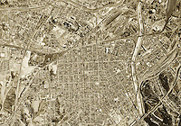 historical aerial photograph Los Angeles, California, 1952