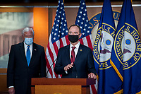 United States Representative Adam Schiff (Democrat of California), Chairman, US House Permanent Select Committee on Intelligence offers remarks  while joined by US House Majority Leader Steny Hoyer (Democrat of Maryland), as he offers remarks during a news conference at the US Capitol, following a meeting at the White House in Washington, DC, Tuesday, June 30, 2020. <br /> Credit: Rod Lamkey / CNP /MediaPunch