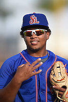 St. Lucie Mets third baseman Jhoan Urena (13) before a game against the Bradenton Marauders on April 11, 2015 at McKechnie Field in Bradenton, Florida.  St. Lucie defeated Bradenton 3-2.  (Mike Janes/Four Seam Images)